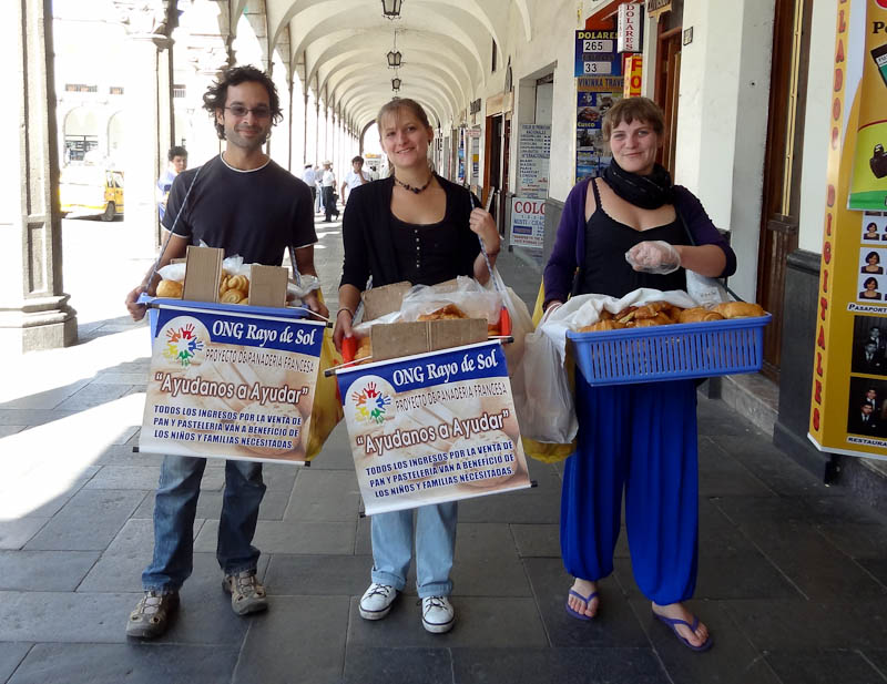 Selling Bread With Other Volunteers