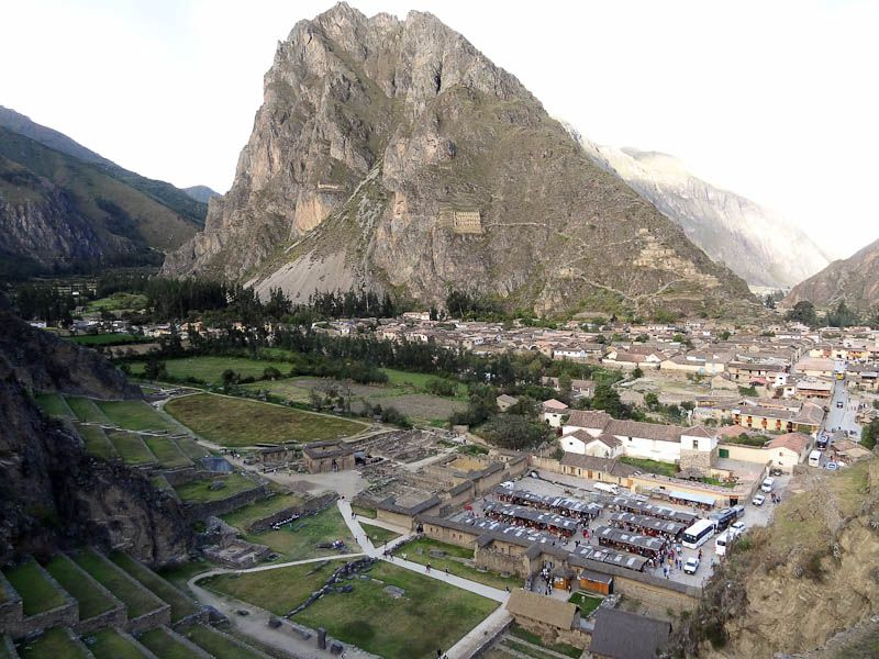 Ollantaytambo With The Incan Face In The Mountain