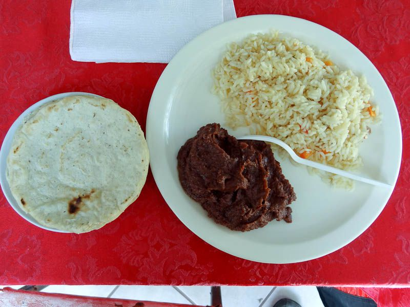 Typical Central American Meal - Refried Beans, Rice, Tortilla
