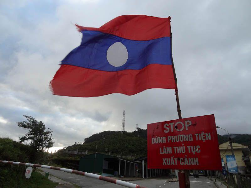 Lao Flag At The Border