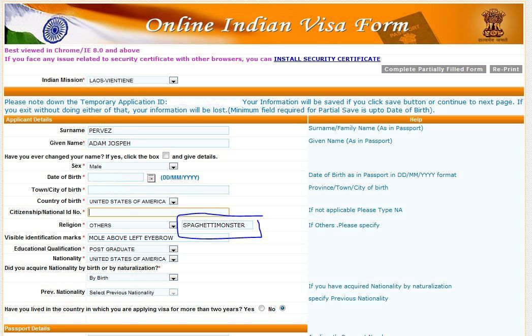 Lao Application For Indian Visa