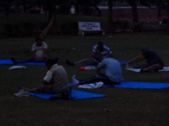 People Doing Yoga Early In The Morning