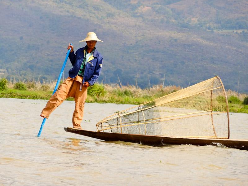 Burmese Fisherman - Taken 30-Jan-2013 - Inle Lake, Myanmar