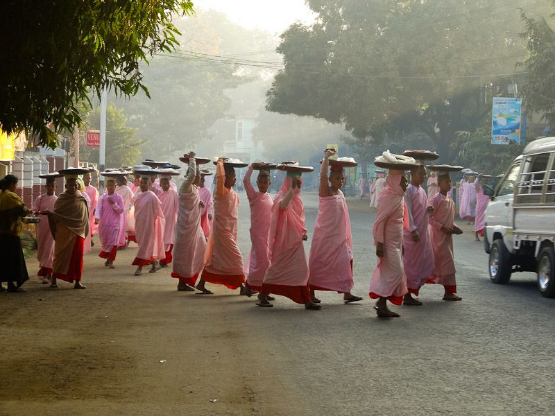Buddhist Nuns Receiving Alms