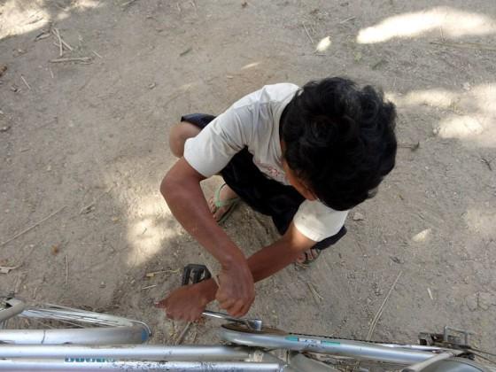 Man With Toenail Polish in Myanmar