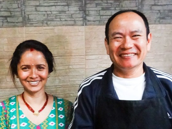 Nepalese Couple - Woman With Red Line And Married Necklace