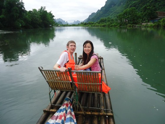 On A Bamboo Raft With My Girlfriend In China