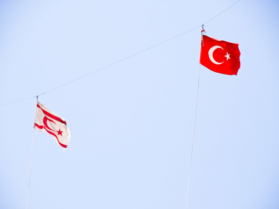 North Cyprus And Turkish Flags