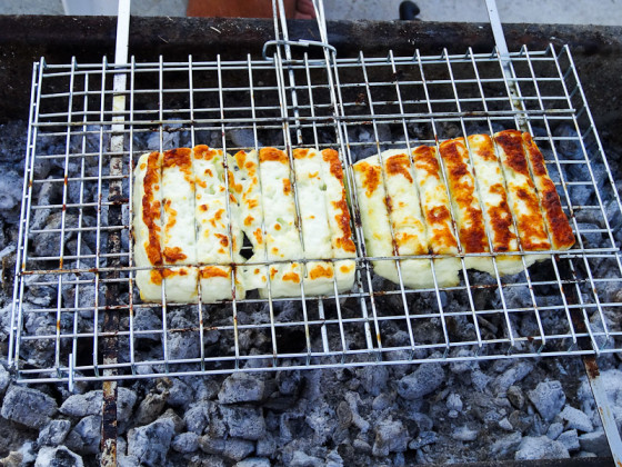 Grilling Halloumi Cheese