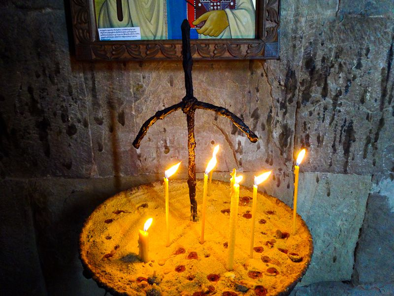 St Nino's Cross With Candles