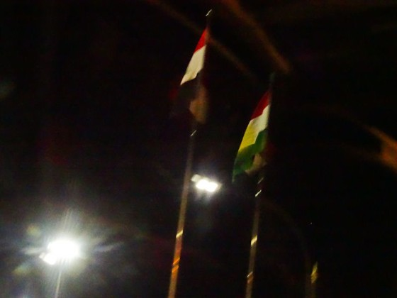 Iraqi And Kurdistan Flags At Border