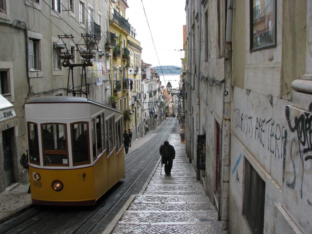 Tram On A Hilly Street - Taken 13-Apr-2009 - Lisbon, Portugal